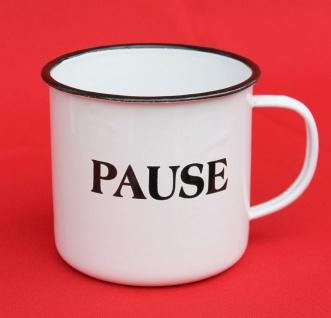 Emaille Tasse 51220 ?Pause? Becher emailliert 10 cm Kaffeebecher Kaffeetasse Teetasse