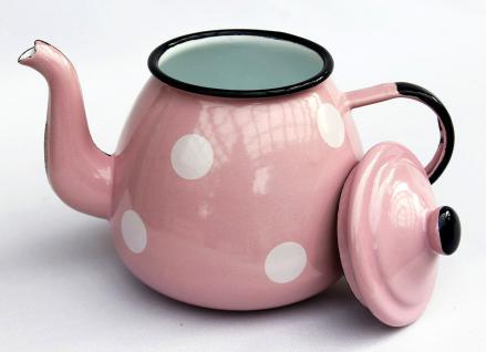 Teekanne 582AB Rosa mit weißen Punkten emailliert 14cm Wasserkanne Kanne Kaffeekanne Emaille - Vorschau 3