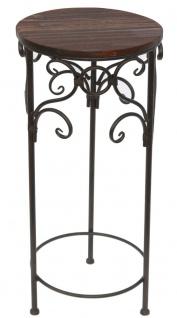 Blumenhocker Metall Braun Rund 68 cm Blumenständer 12590 Beistelltisch Pflanzenständer Holzablage Blumensäule - Vorschau 3