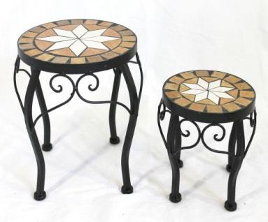 Blumenhocker Merano Mosaik 2er Set 12014 Blumenständer 20 und 27cm Hocker Rund - Vorschau 3