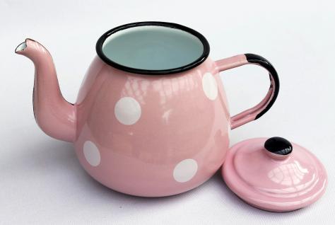 Teekanne 582AB Rosa mit weißen Punkten emailliert 14cm Wasserkanne Kanne Kaffeekanne Emaille - Vorschau 4