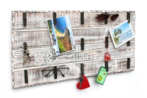 DanDiBo Memoboard Holz Weiß Wandorganizer mit 15 Klammern 2101 Pinnwand Memotafel handgemacht Vintage