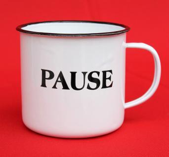 "Emaille Tasse 51220 "" Pause"" Becher emailliert 10 cm Kaffeebecher Kaffeetasse Teetasse - Vorschau 2"