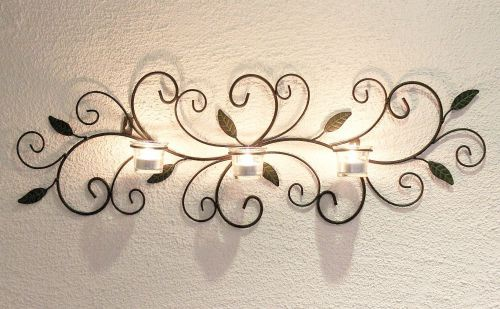 Wandteelichalter 131003 Teelichthalter aus Metall 75cm Wandleuchter Kerzenhalter
