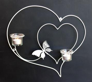 Wandleuchter Herz 39cm Weiß Teelichthalter aus Metall Wandteelichalter Kerzenhalter