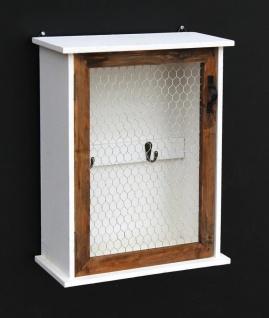Schlüsselregal Holz Weiß Briefablage Wandregal Schlüsselkasten 12045 Regal 42 cm Vintage Shabby Landhaus Küchenregal - Vorschau 2