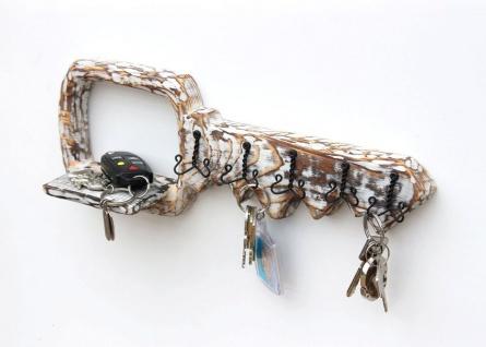 DanDiBo Schlüsselbrett mit Ablage Holz Schlüsselboard Schlüsselhaken handgemacht 1101 Bügel Holzschlüssel - Vorschau 4