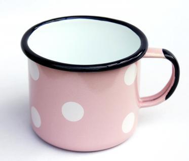 Emaille Tasse 501/10 Rosa mit weißen Punkten Becher emailliert 10 cm Kaffeebecher Kaffeetasse - Vorschau 3