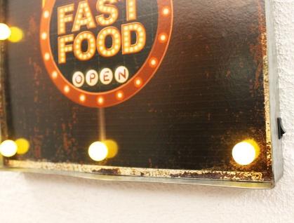 Leuchtschild 237681 FAST FOOD Wandschild LED Schild aus Metall 40 cm Display - Vorschau 4