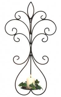 DanDiBo Wandkerzenhalter Metall Antik Schwarz 12107 Kerzenhalter Wand 58cm Schmiedeeisen Kerzenleuchter Einzel