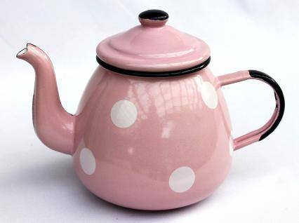 Teekanne 582AB Rosa mit weißen Punkten emailliert 14cm Wasserkanne Kanne Kaffeekanne Emaille - Vorschau 1