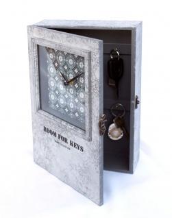 Schlüsselkasten mit Uhr 20451 Schlüsselkästchen 30cm Schlüsselschrank Wanduhr