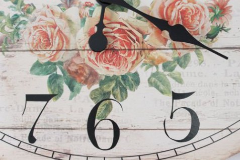Wanduhr Rose Loft 84631 Quarzuhr Ellipse B-49cm Uhr Designuhr Vintage Shabby - Vorschau 4