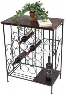 Weinregal mit Holzablage 12977 Flaschenregal mit Glashalter 83 cm Braun Metall Holz Flaschenhalter Weinschrank Regal Stehend