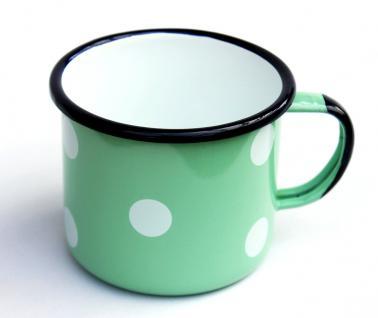Emaille Tasse 501/10 Hellgrün mit weißen Punkten Becher emailliert 10 cm Kaffeebecher Kaffeetasse - Vorschau 3