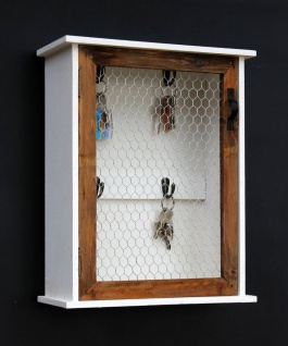 Schlüsselregal Holz Weiß Briefablage Wandregal Schlüsselkasten 12045 Regal 42 cm Vintage Shabby Landhaus Küchenregal - Vorschau 4
