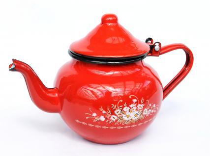 Teekanne BsB 83/07 Rot emailliert Wasserkanne Kanne Kaffeekanne Emaille Nostalgie - Vorschau 1