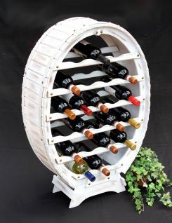 Weinregal Weiss Weinfass aus Holz für 24 Flaschen Vintage Shabby Chic Landhaus Bar Flaschenständer stehend Weinständer Fass