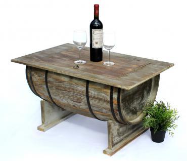Tisch Weinfass 5084-H Couchtisch aus Holz Beistelltisch 80 cm Weinregal Wein Bar