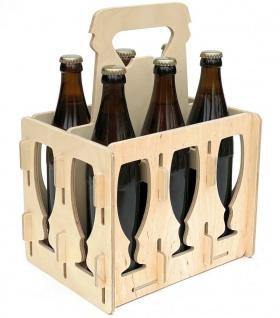 DanDiBo Bierträger aus Holz 6 Flaschen Flaschenträger 96141 Flaschenkorb Männerhandtasche Bier
