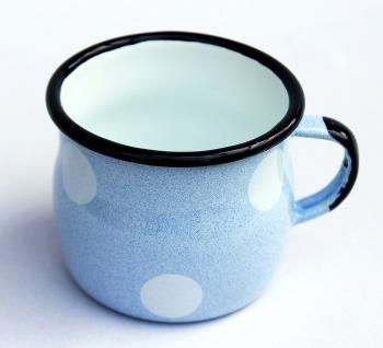 Emaille Tasse 501w/7 Hellblau mit weißen Punkten Becher emailliert 7 cm Kaffeebecher Kaffeetasse - Vorschau 3