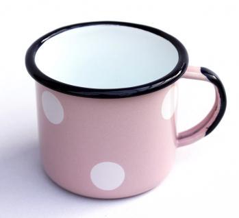Emaille Tasse 501/8 Rosa mit weißen Punkten Becher emailliert 8 cm Kaffeebecher Kaffeetasse Teetasse - Vorschau 3