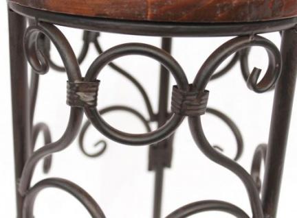 Blumenhocker Metall Braun Rund 68 cm Blumenständer 12590 Beistelltisch Pflanzenständer Holzablage Blumensäule - Vorschau 2