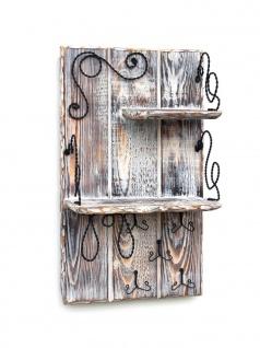 DanDiBo Wandorganizer Holz Weiß Vintage Schlüsselbrett mit Ablage 93909 Schlüsselboard Briefablage Schlüsselkasten Shabby Chic Memoboard Wandregal Schlüsselhaken - Vorschau 3