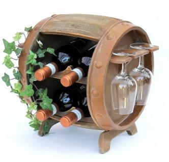 Weinregal Holz Weinfass Braun 33 cm 2110 Bar Flaschenregal Flaschenständer Klein Fass Holzfass mit Glashalter