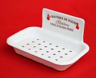 Seifenhalter 51208 Weiß Seifenschale 15, 5 cm emailliert Landhaus Emaille Seifenspender