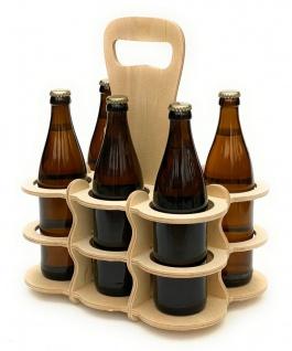 DanDiBo Bierträger aus Holz 6 Flaschen Flaschenträger 96143 Flaschenkorb Männerhandtasche Bier - Vorschau 4