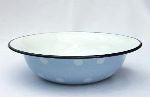 Schüssel 601/32 Hellblau mit weißen Punkten emailliert 32cm Teller Salatschüssel Emaille Waschschüssel