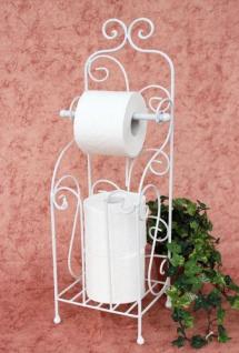 Toilettenpapierhalter Antik Weiß Metall HX13608 WC Rollenhalter Freistehend Vintage WC Papierhalter Shabby Chic - Vorschau 3