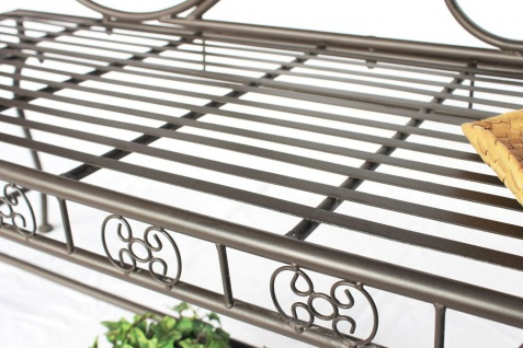 DanDiBo Gartenbank Metall Braun Wetterfest 123 cm Bank Sitzbank 2-Sitzer DY140488 Metallgartenbank mit Rückenlehne Parkbank Garten Antik - Vorschau 3