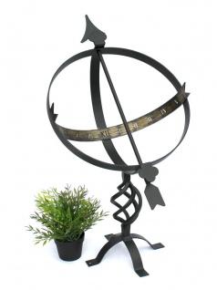 Sonnenuhr Schwarz aus Metall Schmiedeeisen Wetterfest 72cm Gartenuhr Uhr Gartendeko