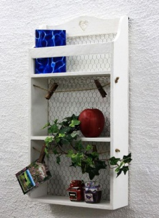 Wandregal mit Herz 12043 Regal 57cm Vintage Shabby Landhaus Küchenregal Weiß - Vorschau 5