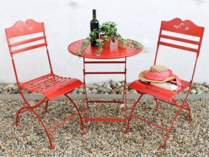 """Sitzgruppe """" Passion"""" Tisch mit 2 Stühle Set aus Metall Rot Gartenstuhl Gartentisch"""