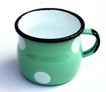 Emaille Tasse 501w/7 Hellgrün mit weißen Punkten Becher emailliert 7 cm Kaffeebecher Kaffeetasse - Vorschau 3