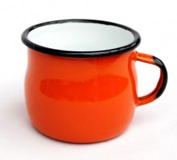 Emaille Tasse 501w/7 Orange Becher emailliert 7 cm Kaffeebecher Kaffeetasse Teetasse