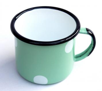 Emaille Tasse 501/8 Hellgrün mit weißen Punkten Becher emailliert 8 cm Kaffeebecher Kaffeetasse - Vorschau 4