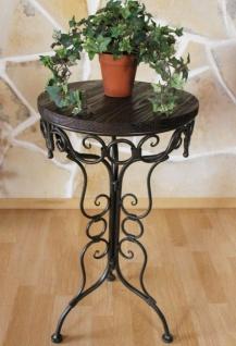 Tisch Klein Beistelltisch Metall mit Holzplatte 68 cm Rund HX12588 Blumenständer Hocker