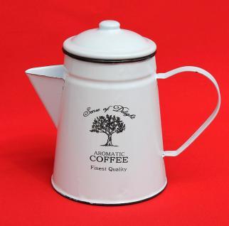 Emaille Kaffeekanne 18cm emailliert 51202 Coffee Weiß Wasserkanne Kanne Teekanne