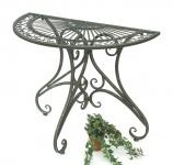 Tisch Halbrund Wandtisch Halbtisch 130434 Beistelltisch aus Metall 90 cm Gartentisch Konsole