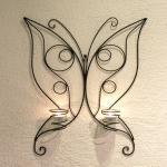 Wandteelichthalter Schmetterling 54cm Wandkerzenhalter aus Metall Teelichthalter