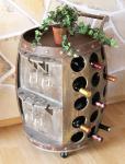 DanDiBo Weinregal mit Glashalter aus Holz Weinfass Fass Servierwagen 72 cm 1499 Flaschenständer Flaschenregal Minibar Bar