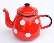 Teekanne 582AB Rot m. weißen Punkten emailliert 14cm Wasserkanne Kanne Kaffeekanne Emaille Nostalgie