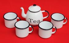 5 tlg. Set Teekanne + 4 Tassen 582AB+501/8 TEA Weiß emailliert Kaffeekanne Emaille Email