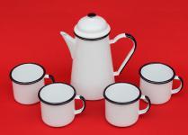 5 tlg. Set Kaffeekanne + 4 Tassen 578TB+501/8 Weiß emailliert Teekanne Emaille Email
