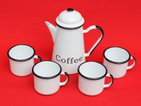 5 tlg. Set Kaffeekanne + 4 Tassen 578TB+501/8 COFFEE Weiß emailliert Teekanne Emaille Email