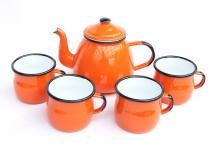 5 tlg. Set Teekanne + 4 Tassen 582AB+501w/7 Orange emailliert Kaffeekanne Emaille Email